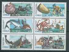 CHILE 1990 Marine Resources Shells Fish kingcrab fishing ship MNH block of 6