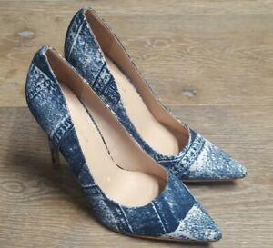 💥SHOE REPUBLIC LA Blue Denim Printed Pointed Stilleto Heels Shoes SZ 9