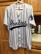 Vintage New York Yankees Button Down Gray Pinstripe MLB Baseball Jersey Sz XL