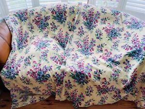 40s 50s Barkcloth Cotton Floral Curtains Fabric Primrose Yellow Shabby Chic Boho
