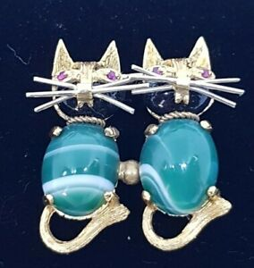 Carl Bucherer Brooch 18ct Yellow Gold Rare Collectable Pair Of Cats