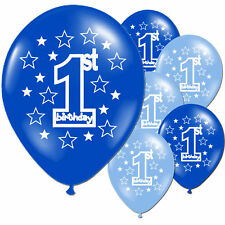1st Birthday 10 Blue Boy's Printed Pearlised Balloons