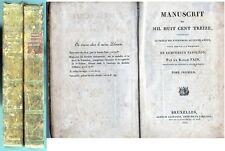 C1 NAPOLEON Baron Fain MANUSCRIT DE 1813 Edition BELGE 1824 COMPLET