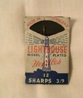 Vintage Sewing Needle Pack LIGHTHOUSE NEEDLES Made in England Sheffield Steel