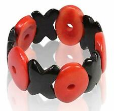 Tagua Black HUG and Red KISS Bracelet - Hugs and Kisses - Organic, Fair Trade