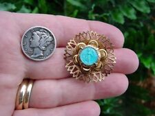 Vintage - MIRACULOUS MARY PIN - blue enamel center - gold tone - brooch