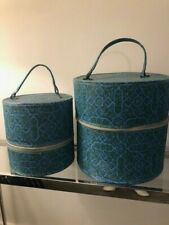 retro vintage 1960's - 1970's hat wig box carrying case set of 2