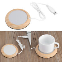 Wood Electric USB Desktop Tea Coffee Warmer Heater Cup Mug Warming Trays Mat