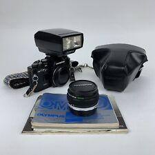 Olympus OM10 35mm Camera - Zuiko F50mm 1:1.8 Lens - T32 Flash & Manuals Rare VGC