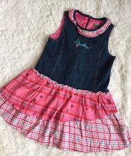 "United Colors of Benetton Girls Jean & Corduroy Blue Pink Dress-5T-6T 25"" Long"