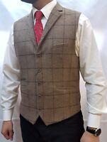 Heritage Vintage Check Waistcoat Formal Tweed Tan Men's Vest Jacket 36R-52R