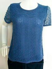 JIGSAW dentelle de coton et soie Femme Taille 8 -- Très bon état -- à manches courtes bleu
