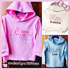 Personalised Embroidered Baby,Kid Jumper,Hoodie Name Princess/Prince Outfit Gift
