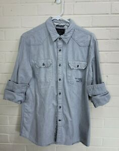 GUESS Los Angeles 1981: Limited Edition Gray Button Down Denim Shirt Size L