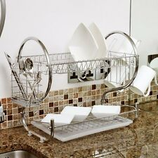 2 Tiers Kitchen Dish Cup Drying Rack Holder Organizer Drainer Dryer Tray CutleUB