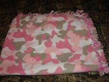 Pink White Camouflage fleece hand tied blanket throw blankets girls hunting camo