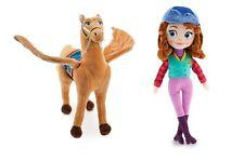 Disney Store Sofia the First & Saffron Horse 2pc Plush Stuffed Animal Set Lot
