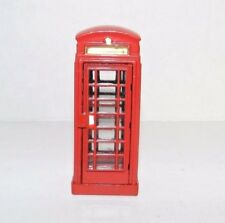 Red Metal Telephone Booth Christmas Village Accessory