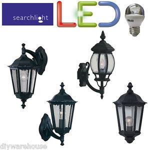 SEARCHLIGHT LED OUTSIDE DIE CAST BLACK LANTERN GARDEN WALL LIGHT ENERGY SAVING