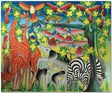 Hand Painted Tingatinga Wildlife Oil Painting - Leopard Zebra Elephant Giraffe