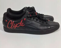 Puma Clyde Core 36620701 Mens Black Leather Classic Low Top Sneakers Shoes Red