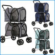 Double Pet Stroller for 2 Small Dog Cat Travel 4 Wheels Stroller Folding Carrier