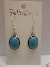Turquoise Hook Oval Costume Earrings
