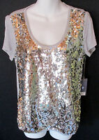 Jennifer Lopez Silver Sparkle Beaded Sequins Tee Knit Top Women's S New Tags