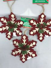 Lot of 3 burlap snowflake ornaments red off white NWT craft