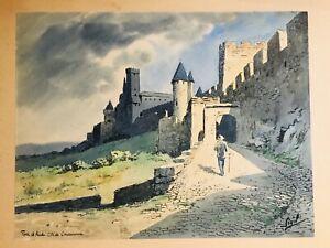 Antique Vintage WC Landscape - French Castle - Porte Di Aude Carcassonne France