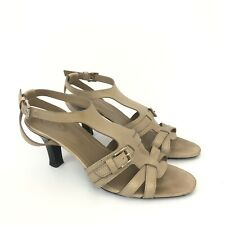 TOD'S Womens Size 38.5 Beige Leather Made In Italy Sandals