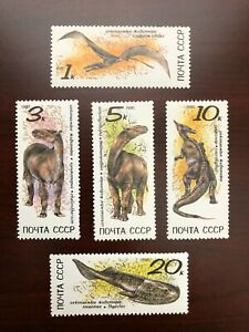 USSR 1990 Scott #5920-5924 Prehistoric Animals Dinosaurs Russia Soviet CCCP MNH