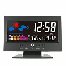 Digital colour display sound activated alarm clock weather station