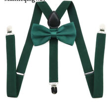 Dark Green Pre-tied Bow Tie Braces Suspenders Set Matching Formal Quirky Fashion