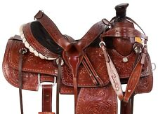 WESTERN LEATHER RANCH ROPING TRAIL CUTTING TOOLED HORSE SADDLE TACK 15 16
