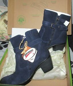 EARTH ORIGINS NAVY SUEDE TORI  ANKLE BOOTS - WATER REPELLENT sz 6 - NEW IN BOX
