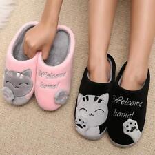 Women Winter Slippers Home Shoes Warm Plush Indoor Soft Floor Cartoon Cat Couple
