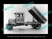 OLD LARGE HISTORIC PHOTO OF CLYDE OHIO, THE 2.5 CLYDESDALE MOTOR Co TRUCK c1920