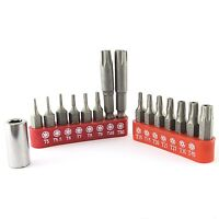 16 PIECE TAMPER PROOF 6 POINT STAR BIT SET Torx Socket Security Variable