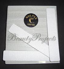 50pc Professional 100/180 Grit Zebra Jumbo Nail Files Square Shape 7x1 Acrylic