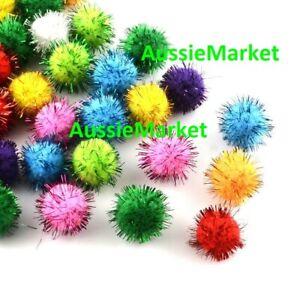 100 x glitter pom poms mixed colours 14mm kids children crafts scrapbooking new