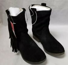 Ankle Boots: 70 Post Paris Daniela Size 6 M Black Fringed Real Suede Western NIB