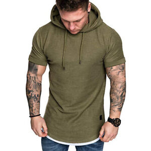 Men Short Sleeve Hoodie T-shirt Fitness Workout Gym Summer Hooded Muscle Tee Top