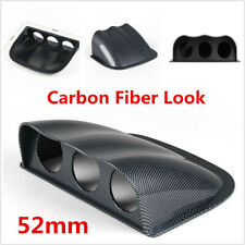 New Carbon Fiber Look Car 3 Hole Triple Gauge Meter Mount Holder Pod 52mm