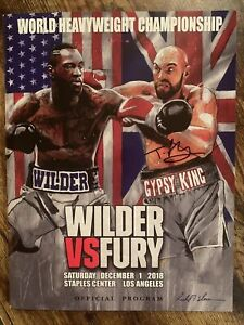 Tyson Fury vs Deontay Wilder Official Program SIGNED By Fury; Incl. 2 Cards; LOA