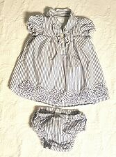 Baby Girl Seersucker Blue White Striped Dress And Bloomers 0-3 Months