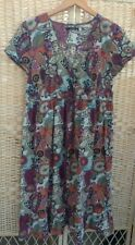 Georgia Asda Size 12 Floral Cotton Dress Tie Waist V-Neck