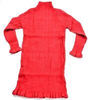 UK New Kids Girls Toddler Red Knit Dress Winter Warm Frill Polo Neck Long Sleeve