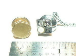 14K Solid Gold Vintage ANSON Lapel Pin Tie Tack + Sterling Silver & Opal one