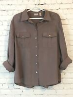 Chicos Womens Dress Shirt Size 3 Taupe Long Roll Tab Sleeve Button Up Pockets